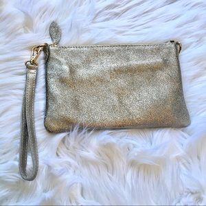 Handbags - Metallic Wristlet or Crossbody